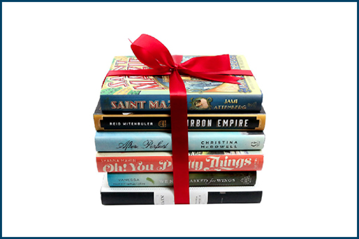 books wrapped in holiday bow