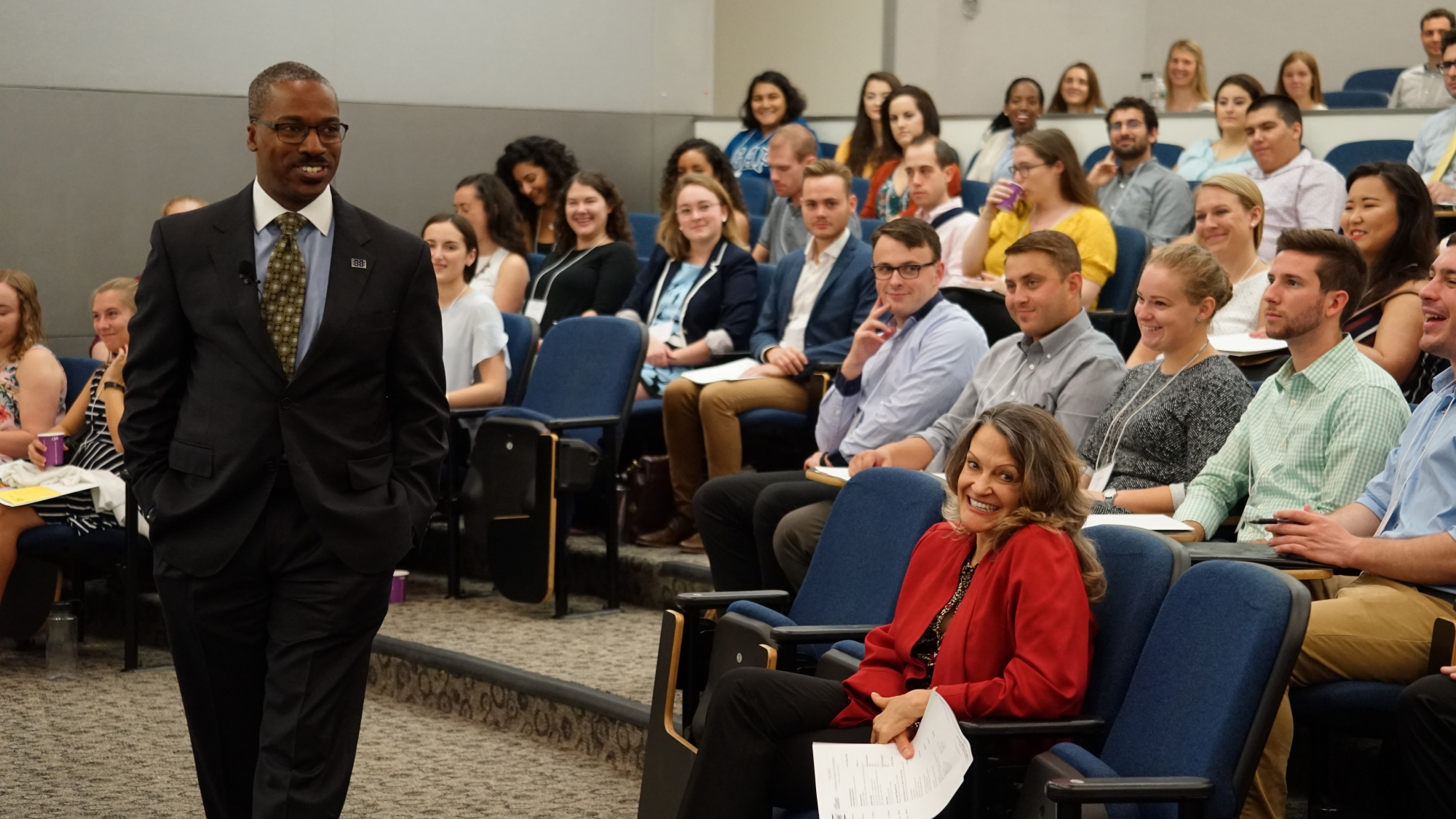 photo: Dean Reuben Brigety speaks to the incoming students at Graduate Orientation