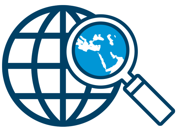 graphic: simple globe with longitude and latitude lines - a magnifying glass looks in on the North African and Middle East region