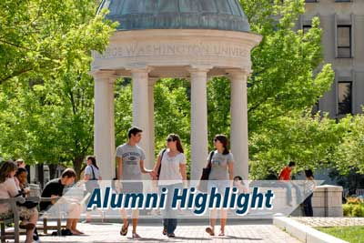 "photo of students walking in kogan plaza with words ""Alumni Highlight"""