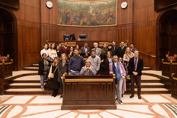Group photo inside the Parliament Building