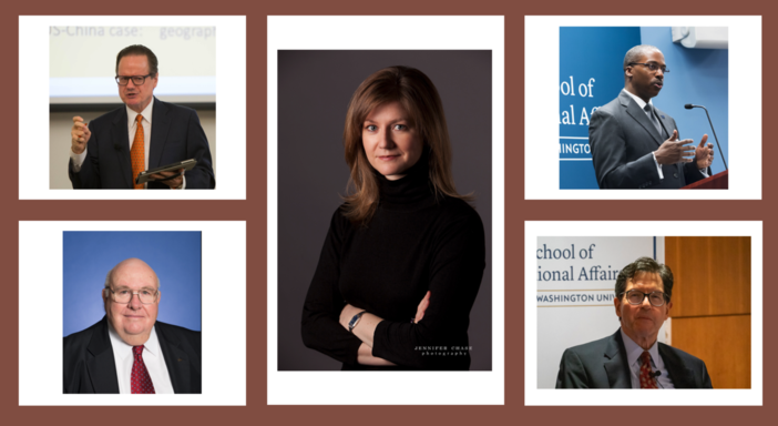 Headshots of ESIA deans that spoke at the GW200 bicentennial event