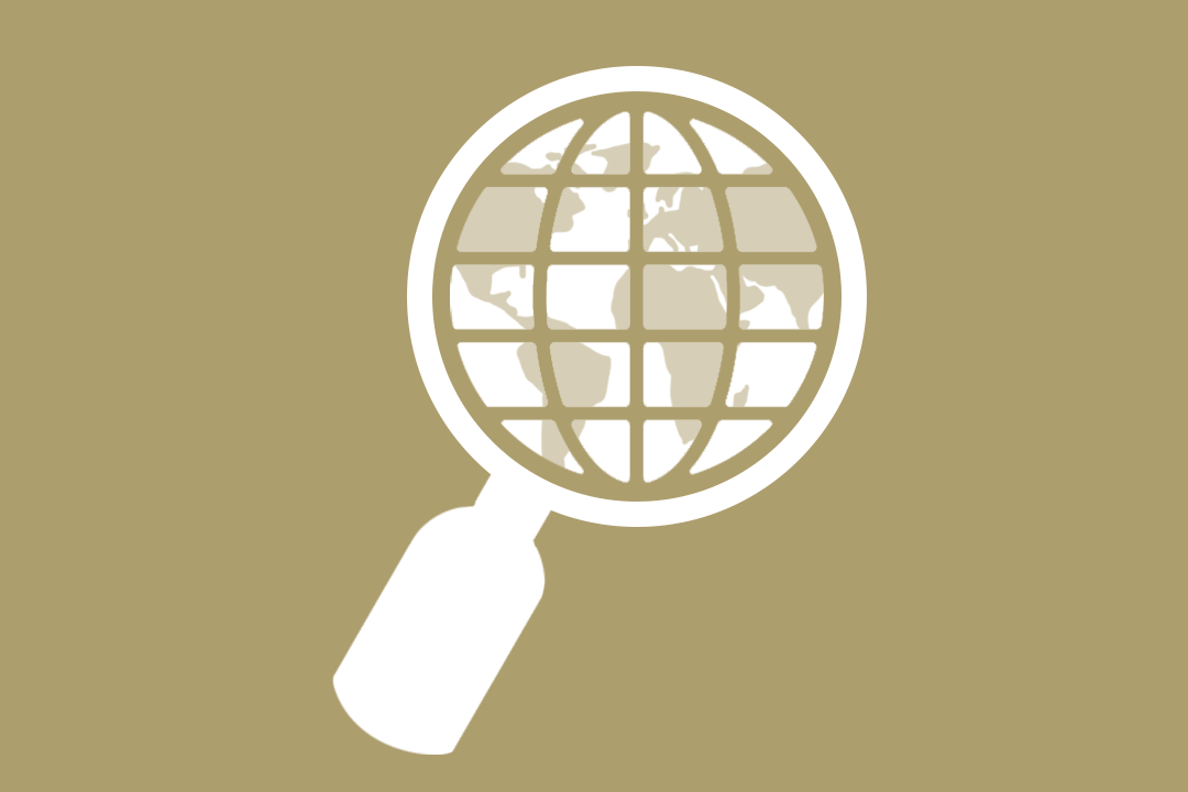 graphic: magnifying glass over world map