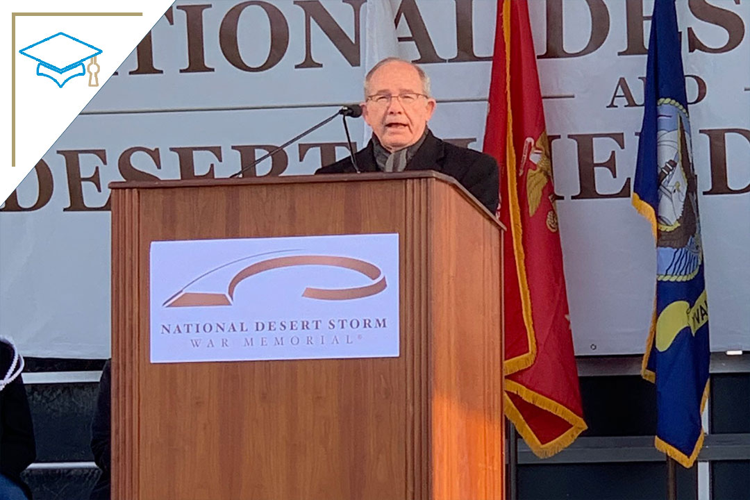 Photo: Vice Dean Skip Gnehm speaking at Desert Storm Memorial on the D.C. mall