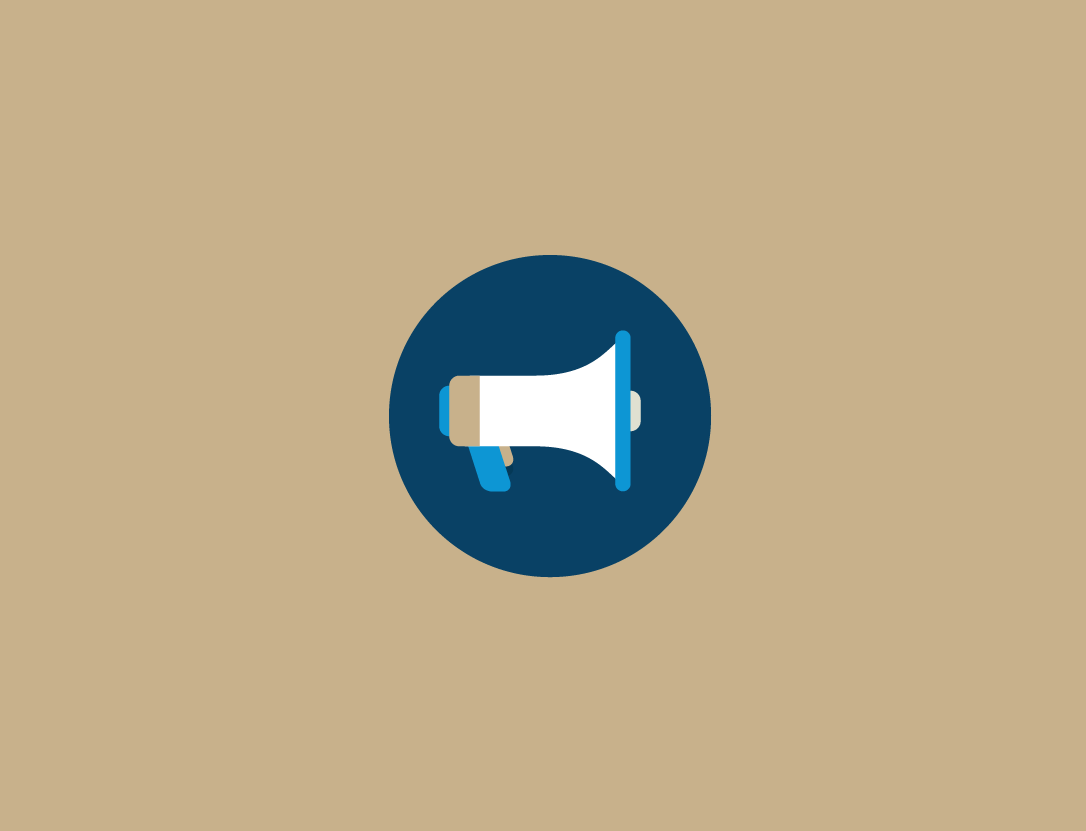 Graphic: Megaphone icon with tan background