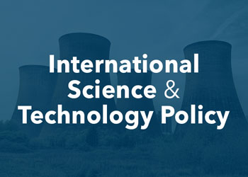 International Science and Technology Policy - photo of nuclear plant with blue overlay