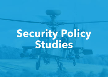 Security Policy Studies - photo of military helicopter with blue overlay