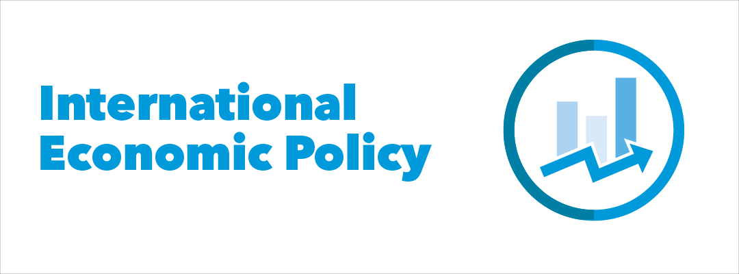 "graphic: the text ""International Economic Policy"" next to a circle that has a picture of a bar chart and rising arrow on the inside"