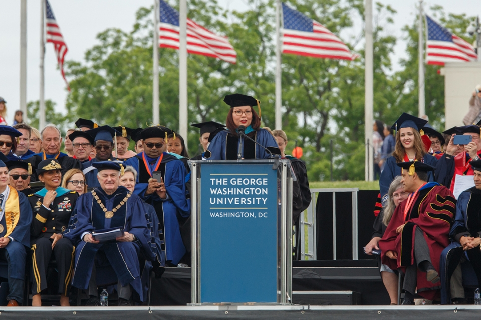 Alumna Senator Tammy Duckworth speaks at the 2017 GW Commencement.