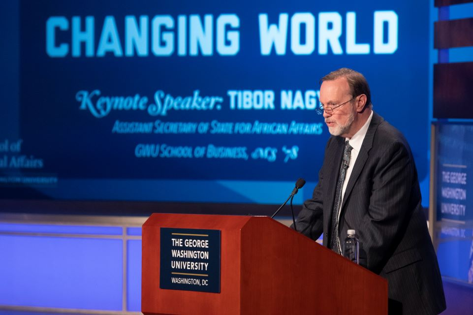 photo: U.S. Assistant Secretary of State Tibor Nagy addresses a GW audience