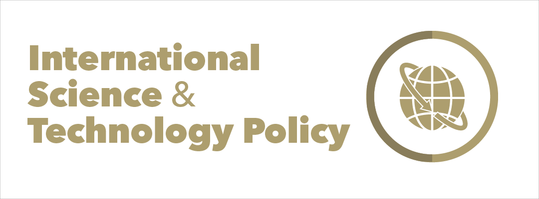 "graphic: the text ""International Science and Technology Policy"" next to a circle with a globe in the middle, with an arrow wrapping itself around the globe diagonally"