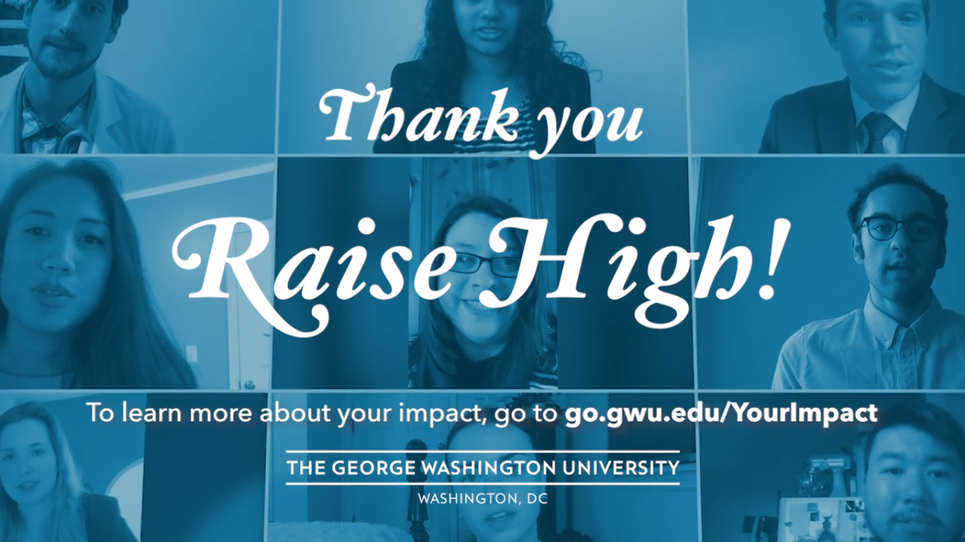 photo: several photos of GW student saying thank you, Raise High