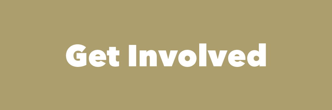 "Graphic: Golden colored block with the text ""Get Involved'"