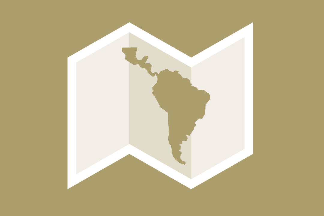 graphic: a folded map with an outline of the Latin American countries