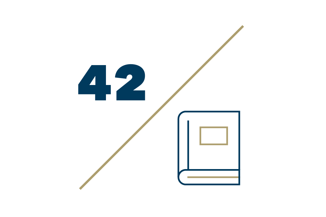 Graphic: 42 faculty books published followed by a diagonal slash and a book pictured underneath