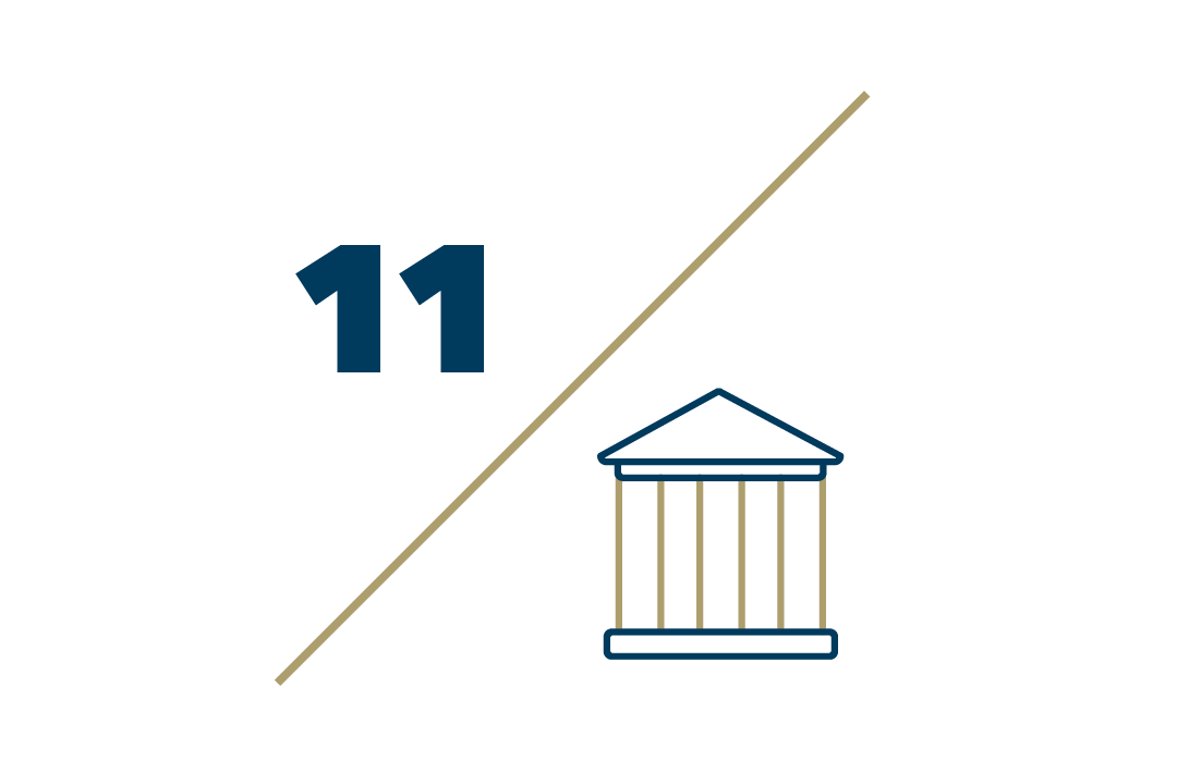 Graphic:11 centers and institutes followed by a diagonal slash and a building with columns pictured underneath