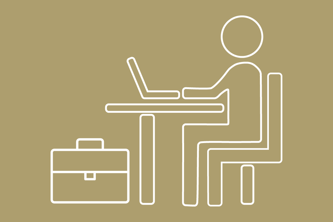 graphic: a side-profile of a cartoon student sitting at a desk with a laptop open, typing. The student's briefcase is placed under the desk