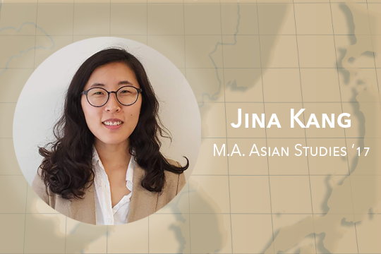 Map of Asia in the background with a headshot of Jina Kang, M.A. Asian Studies '17 in the foreground