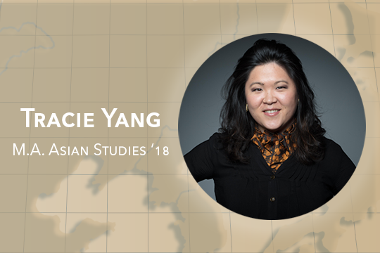 Map of Asia in the background with a headshot of Tracie Yang, M.A. Asian Studies '18 in the foreground